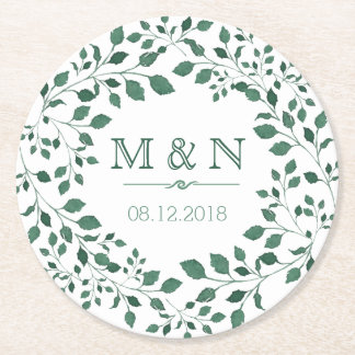 Green leaves watercolor wreath | Monogram Wedding Round Paper Coaster