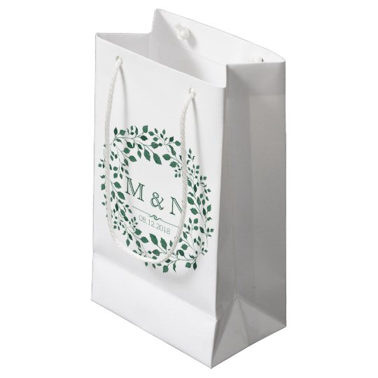 Green leaves watercolor wreath | Monogram Wedding Small Gift Bag