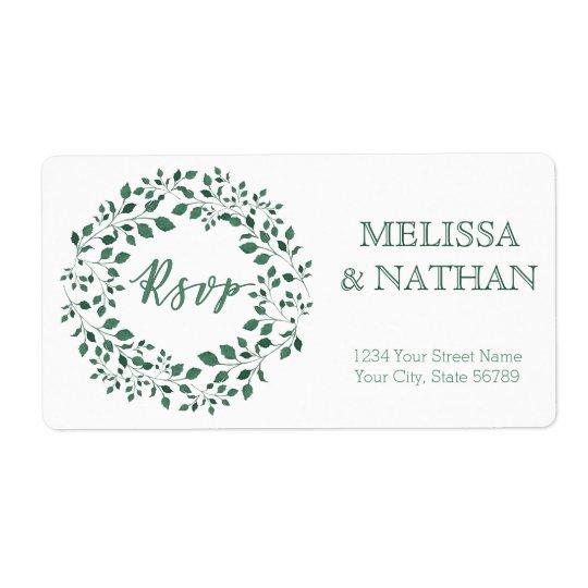 Green leaves watercolor wreath RSVP Wedding Label
