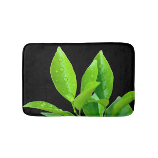 Green Leaves with Waterdrops on Black - Bath Mat Bath Mats