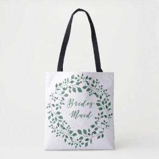 Green leaves wreath   Bridesmaid Tote Bag