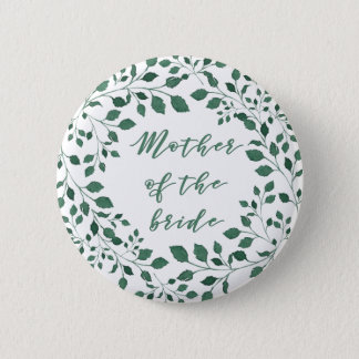 Green leaves wreath | Mother of the Bride 6 Cm Round Badge