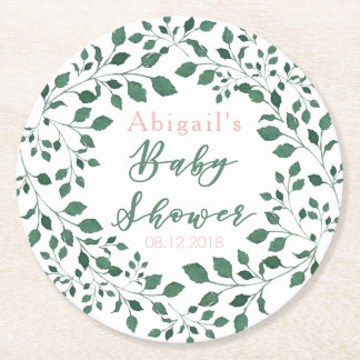 Green Leaves Wreath | Personalized Baby Shower Round Paper Coaster