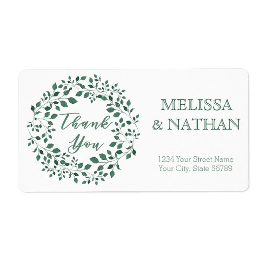 Green leaves wreath | Thank You | Wedding Label
