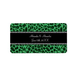 Green leopard pattern wedding favors address label