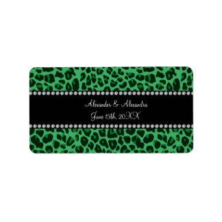 Green leopard pattern wedding favors address label