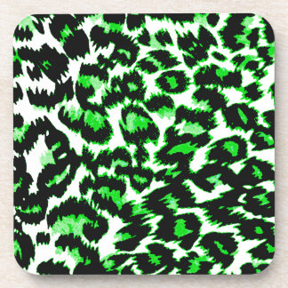 Green Leopard Print Beverage Coaster