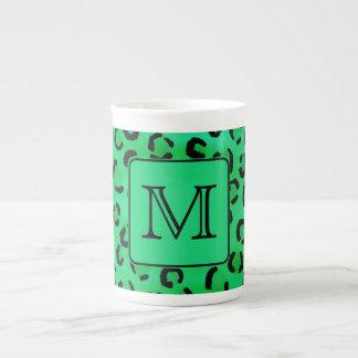 Green Leopard Print with Custom Monogram. Bone China Mug