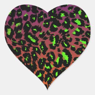 Green Leopard Spots on Fade Background Heart Sticker