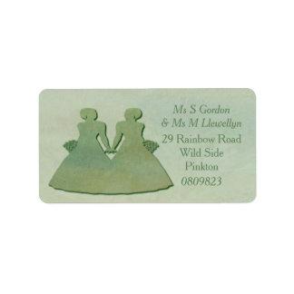 Green Lesbian Bride Address Labels - Mint Rustic