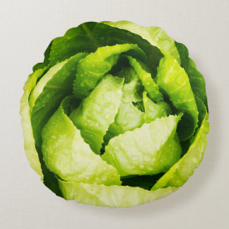 Green Lettuce Leaves With Raindrops Round Cushion