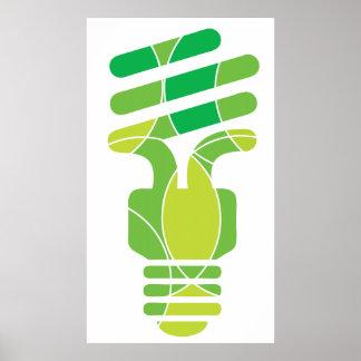 Green Light bulb graphic poster