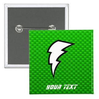 Green Lightning Bolt Pinback Button