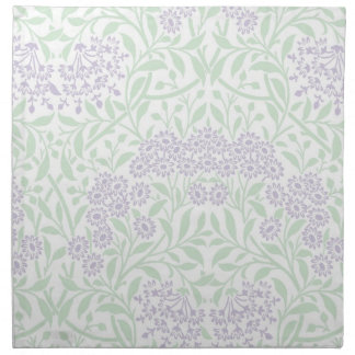 Green Lilac Floral Damask Pattern Napkin