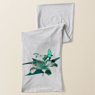 Green Lily shown on a grey Scarf