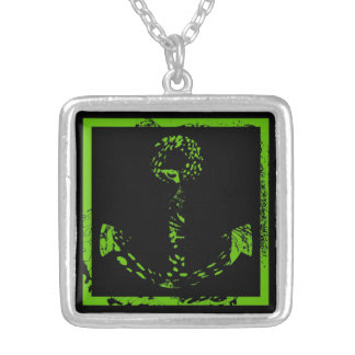 Green Lime Anchor Fine Art Silver Plated Necklace