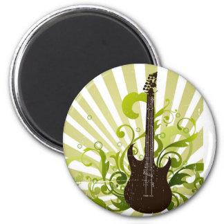 Green lime black guitar design magnet