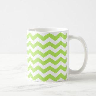 Green Lime Chevron Stripes Coffee Cup