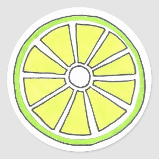 Green Lime Citrus Fruit Slice Stickers