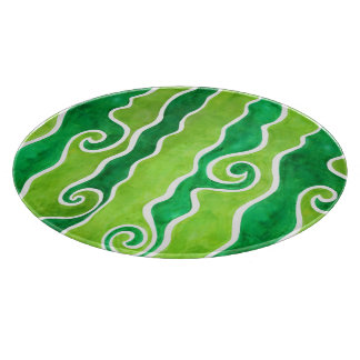 Green Lime Waves Cutting Board