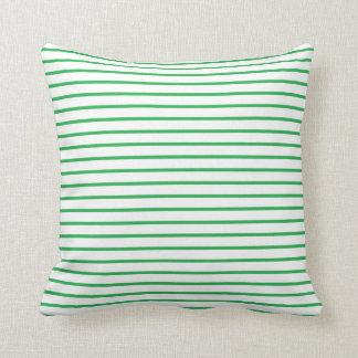 Green Lines White Cushion