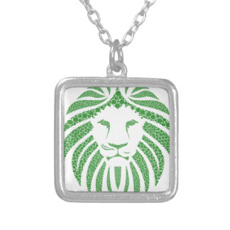 Green Lion Head Silver Plated Necklace