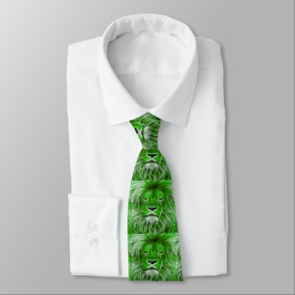 Green Lion Print on  Men's Necktie