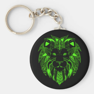 Green Lion With Background Colour of Your Choice Basic Round Button Key Ring
