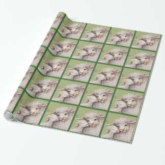 Green Little Lamb Wrapping Paper