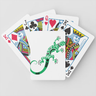 Green Lizard Drawing Bicycle Playing Cards