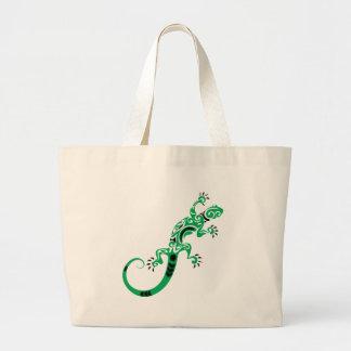 Green Lizard Drawing Large Tote Bag