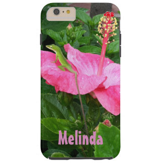 Green Lizard On Pink Hibiscus Photograph Tough iPhone 6 Plus Case