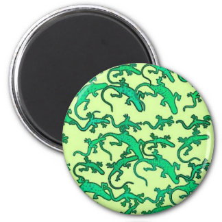 Green lizards on a lime green background fridge magnets