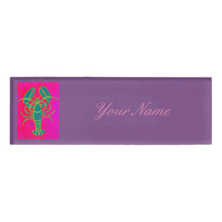 green lobster Thunder_Cove pink Name Tag