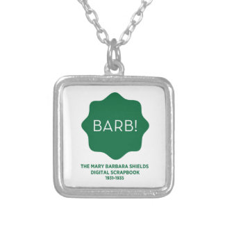 Green Logo Silver Plated Necklace