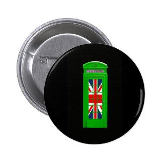 Green London phone box Pin