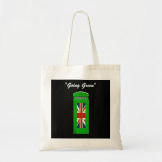 Green London phone box Tote Bag