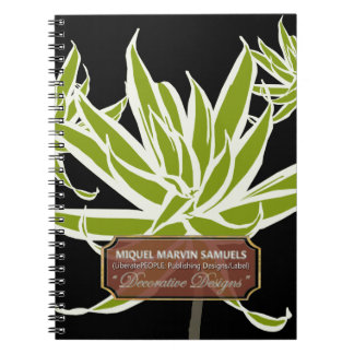 Green Long Leaves Decorated Modern Notebook