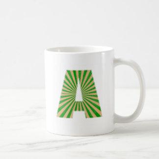 Green Lotus Leaf n Sparkle AAA Fine Alphabet Coffee Mug