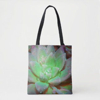 Green Lotus with dew drops Tote Bag