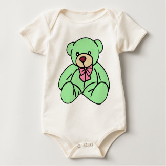 Green Lovable Teddy Bear Baby Bodysuit