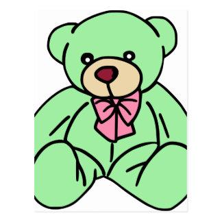 Green Lovable Teddy Bear Postcard