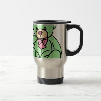 Green Lovable Teddy Bear Stainless Steel Travel Mug