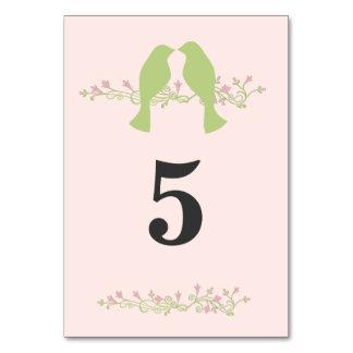 Green Love Birds Wedding Table Number