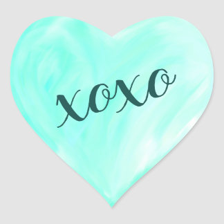 Green Love Heart Xoxo Watercolor Painted Heart Sticker