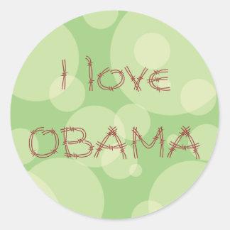 Green love Obama Round Sticker