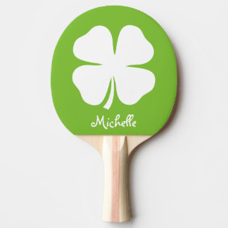 Green lucky clover table tennis ping pong paddle