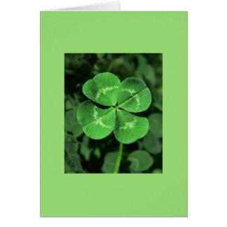 Green LUCKY FOUR-LEAF CLOVER Blank Note Card