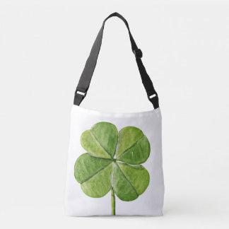 Green lucky Four-leaf clover Shamrock hand painted Crossbody Bag