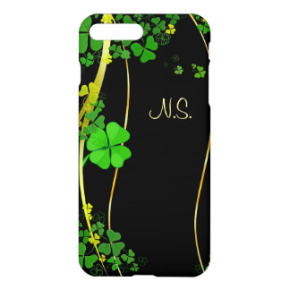 Green Lucky Shamrock  black faux glitter wave iPhone 8 Plus/7 Plus Case